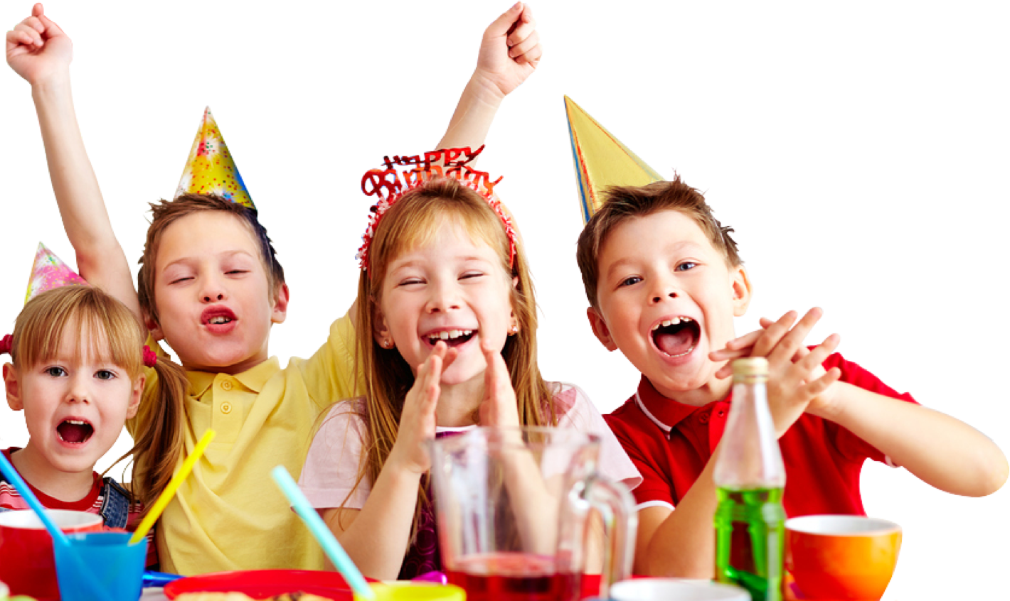 A group of kids excited about a birthday