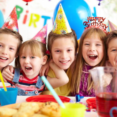 Group of adorable children at kids birthday party