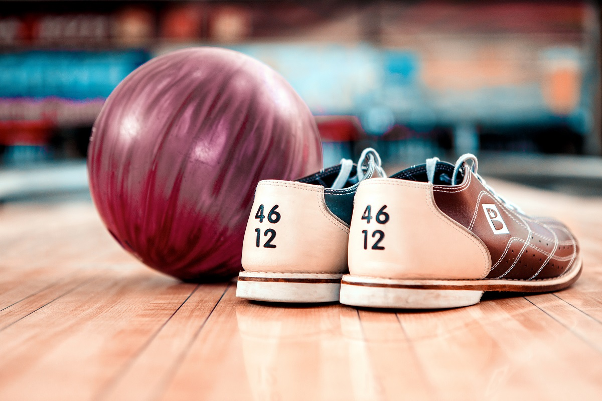 Bowling Shoes and Red Bowling Ball