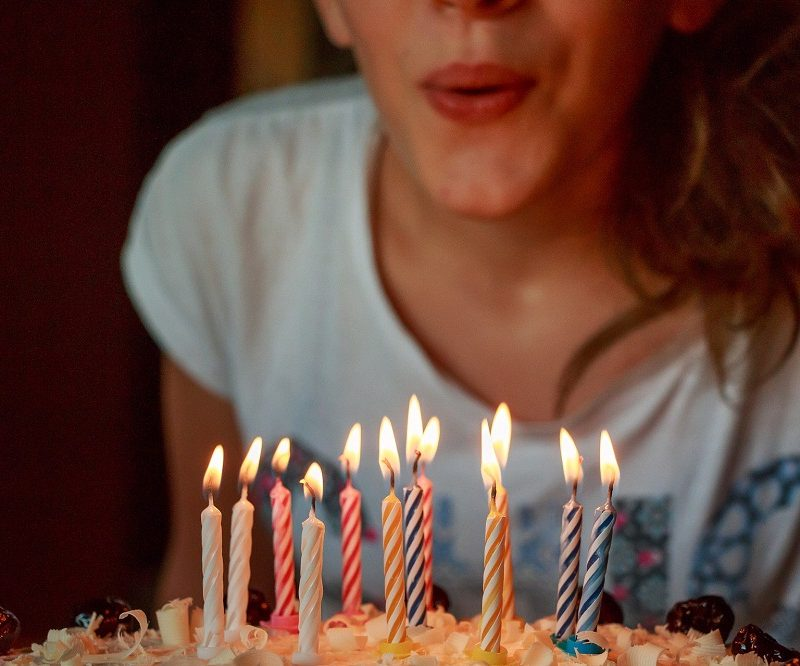 Female Kid Blowing Out Birthday Candles